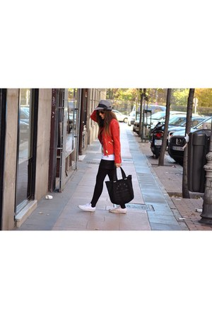 red Mango jacket - black Marc by Marc Jacobs bag - white Converse sneakers