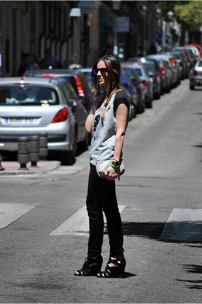 silver Zoe Karssen sweatshirt - black Diesel jeans - black Zara sandals