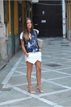 blue balenciaga t-shirt - white Zara skirt - beige Stradivarius sandals