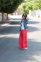 blue Mango jacket - pink Mango skirt - ivory Converse sneakers