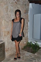 tan Adolfo Dominguez top - black Zara skirt - black Zara wedges