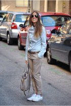 blue Mango shirt - beige Marc by Marc Jacobs bag - white Converse sneakers