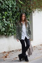 green Zara jacket - white H&M shirt - black Isabel Marant sneakers