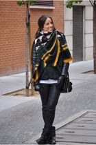black Zara boots - black Mango jacket - black Zara scarf - black Mango pants