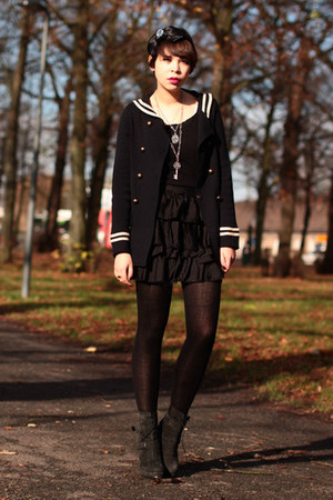 The Kooples boots - sailor Zara jacket - Topshop skirt - bow Sonia Rykiel for H&amp;