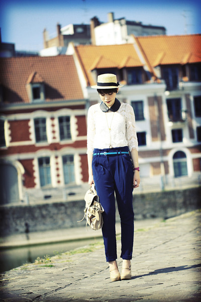 Newlook heels - Topshop bag - Newlook pants - lace top etam top