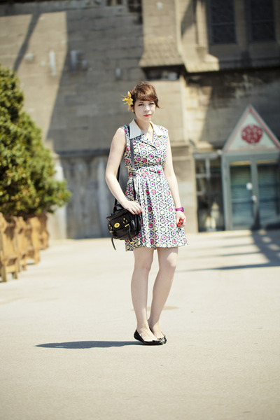 Moschino dress - Mulberry bag - mouse flats Marc by Marc Jacobs flats