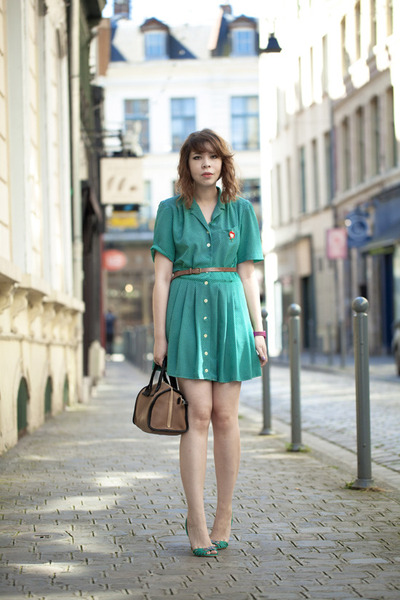 green thrifted vintage dress - See by Chloe bag - patricia blanchet heels