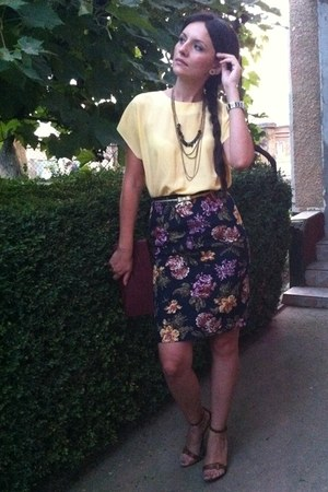 yellow vintage blouse - crimson vintage bag - navy vintage skirt