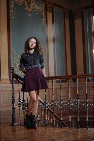 crimson H&M skirt - black Bershka shirt