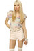 ivory thigh high LuLus tights - light pink cut off LuLus shorts - tan braided Lu