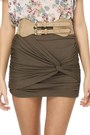 Army Green Knotted Detail LuLus Skirts