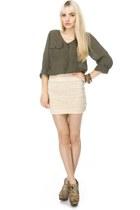 cream lace LuLus skirt - LuLus boots - olive green LuLus blouse