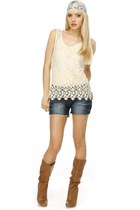 blue denim cut off LuLus shorts - brown slouchy Qupid Tabu boots