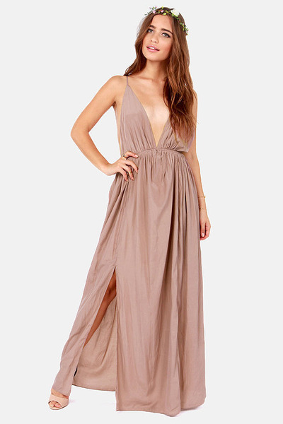 LuLu*s Titania's Woods Backless Taupe Maxi Dress by Lulusdotcom ...