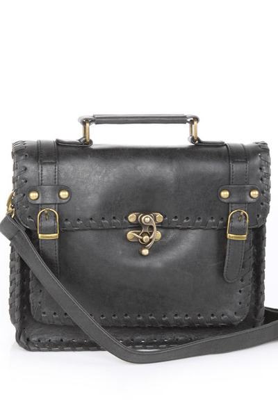 black vegan leather LuLus purse