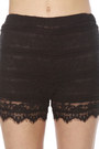 Black Lace LuLus Shorts Black Combat LuLus Boots White Sheer LuLus Blouses