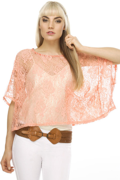 coral sheer lace crop LuLus top - brown LuLus belt - white bell bottom LuLus pan