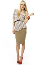 ivory striped LuLus blouse - tan pencil skirt LuLus skirt - red platform Steve M