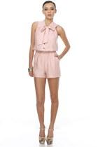 light pink ascot LuLus romper - beige platform floral LuLus heels