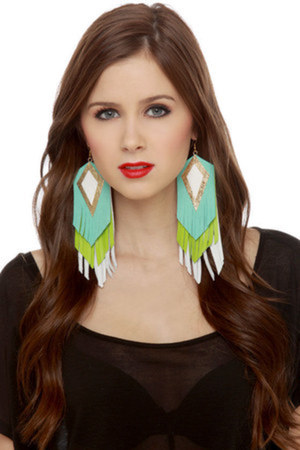 lime green fringe LuLus earrings