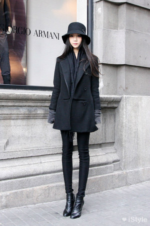 black boots - black coat - black hat