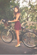 brick red brandy melville skirt - black Topshop top - gold Repetto pumps