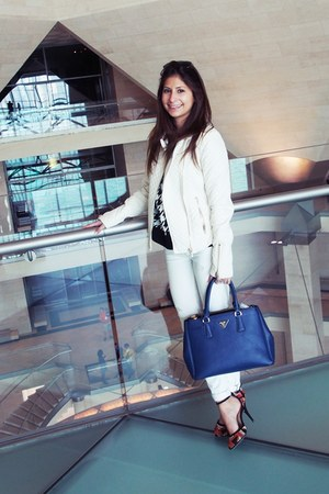 white Zara jacket - blue Prada bag