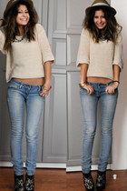 new look heels - light blue Mango jeans - beige Forever 21 sweater