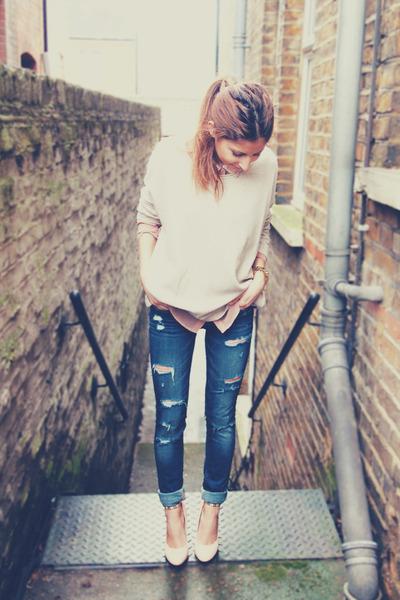 Blue Ripped Hollister Jeans Cream Hu0026M Sweaters | u0026quot;Ripped u0026 Chicu0026quot; by Lunaaa | Chictopia