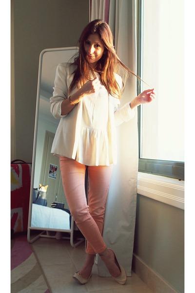 coral Zara jeans - cream Mango jacket - cream Zara shirt