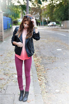 black leather Steve Madden boots - brick red Bershka jeans