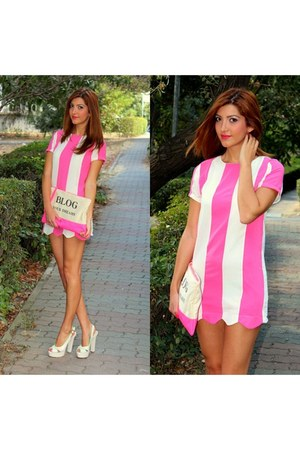 hot pink Choies dress - hot pink Bershka bag - white Tue Shoes - İstapark heels