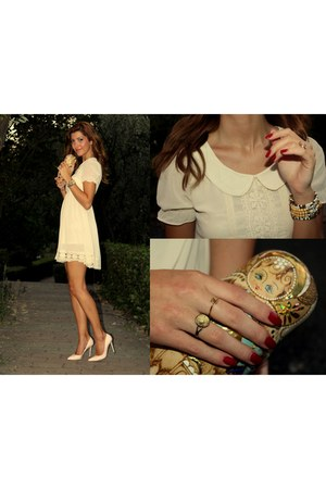 eggshell OASAP dress - dark khaki OASAP ring - eggshell High KC pumps
