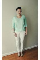 white Mossimo jeans - aquamarine Forever21 shirt