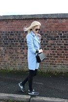 sky blue cocoon Dress Lily coat - black aviator rayban sunglasses