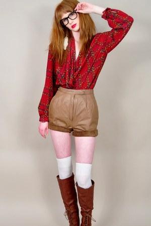 vintage blouse - Urbanogcom boots - vintage shorts - thigh high Target socks
