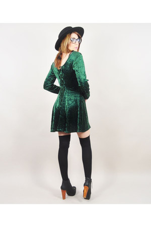 black Jeffrey Campbell boots - green vintage dress - black My Own hat