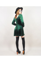 black Jeffrey Campbell boots - green vintage dress - black My Own hat