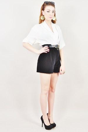 black vintage guess shorts - ivory vintage blouse