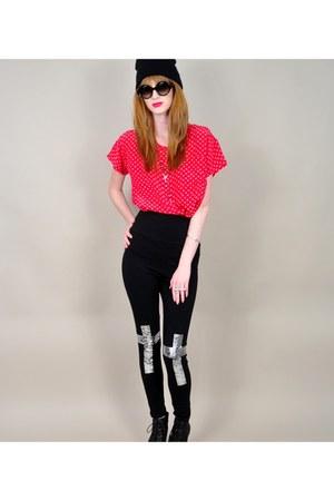 red vintage blouse - black beanie Target hat - black urabanog leggings