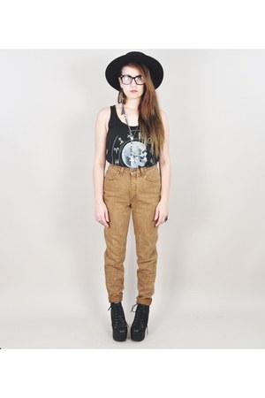 bronze vintage jeans - black litas Jeffrey Campbell boots