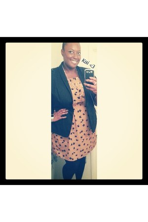 Old Navy dress - Old Navy blazer - tights - torrid heels - Forever 21 necklace