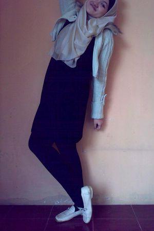 beige coat - black dress - black tights - beige scarf
