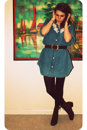 blue Goodwill dress - brown Goodwill belt - brown George tights - brown Nine Wes