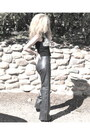 Heather Gray Leather Pants Diesel Pants