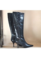 Banana Republic Boots Leather Black Snake Reptile Print Stiletto Heels 6M