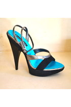 Michael Antonio Strappy Heels Shoes Gunmetal Black Vegan Leather 5 5.5