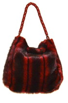 Black + Red Striped Faux Fur Bag Unusual Beaded Strap