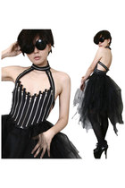 Ladies Couture Handcrafted Fashion Halter Bustier XS Black